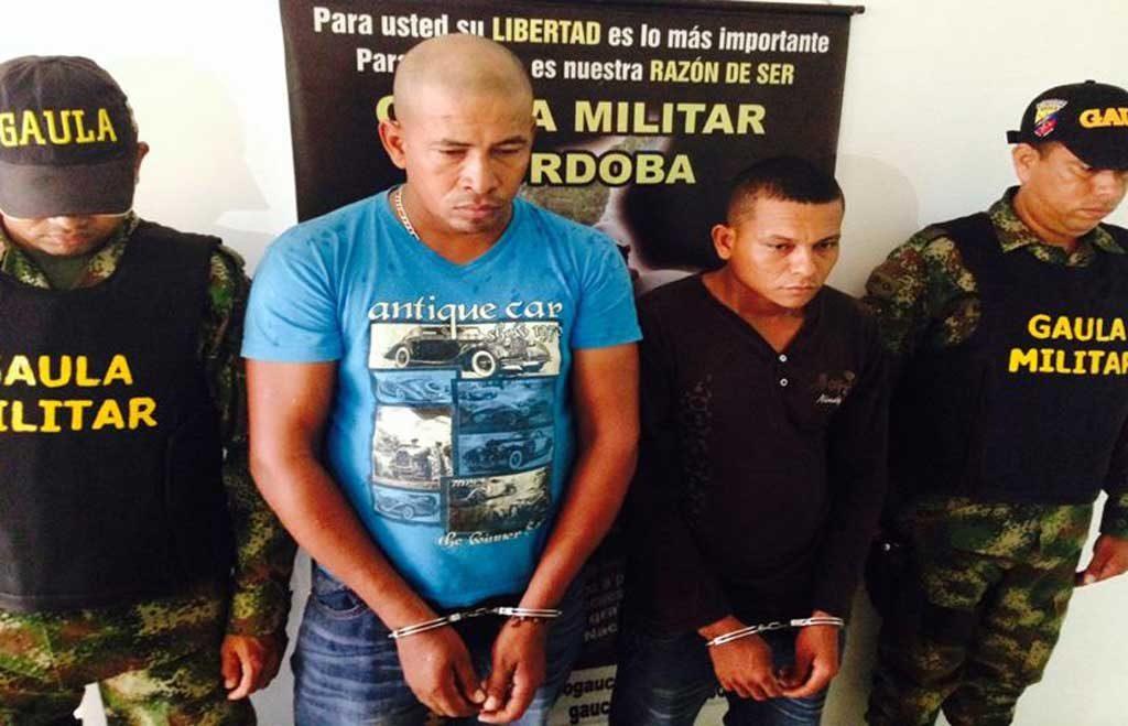 """Óscar Lucio Acosta Polo, alias Cofla y Reyes Morales Sáenz alias """"El Maluco"""", capturados en Montería."""