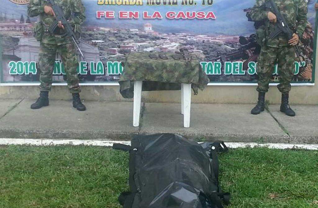 Un guerrillero muerto en desarrollo de operaciones militares y una caleta con artefactos Explosivos es el saldo de los combates.