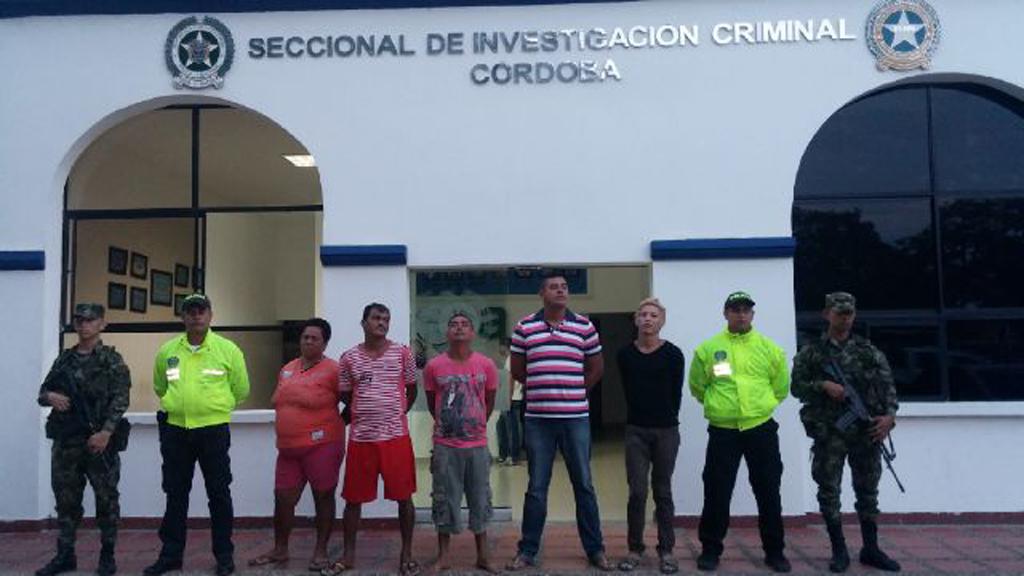 """Estos fueron los cinco aprehendidos de la banda criminal """"Los Urabeños"""", que delinquían en la capital Cordobesa."""