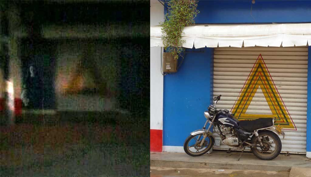 Esta es la imagen que circula en las redes sociales y este es el local donde apareció el extraño fenómeno, barrio el Carmen en Sahagún.