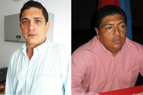 Rodrigo Torres, Director de Territorial Unidad de Restitución y Juan Pablo Álvarez, Secretario de Gobierno Municipal de Sahagún.