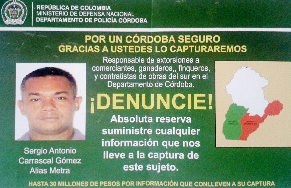 Información de inteligencia revela que alias Metra, reemplazó en las actividades extorsivas a alias Pelusa, capturado recientemente por la Policía en Montelíbano.