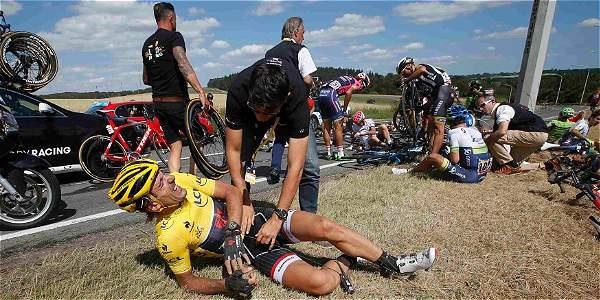 Fabian Cancellara se cayó durante la etapa 3 del Tour de Francia.