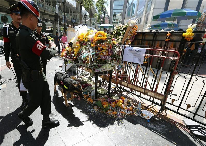 Un policía militar tailandés patrulla con el perro 'Ken', que llega una cámara en su lomo, durante un recorrido de seguridad en los alrededores del santuario de Erawan hoy, jueves 20 de agosto de 2015, después de que este 17 de agosto estallara una bomba, en el centro de Bangkok (Tailandia). EFE