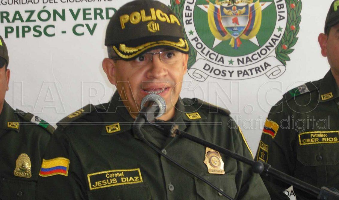 Coronel Jesús Díaz, comandante de la Policía Metropolitana de Montería.