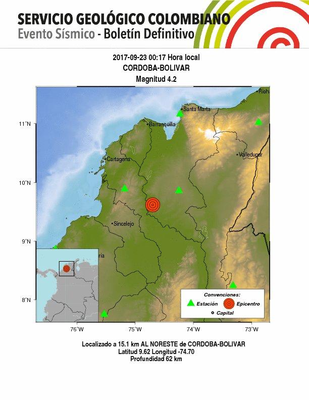 Dos sismos en norte de Colombia