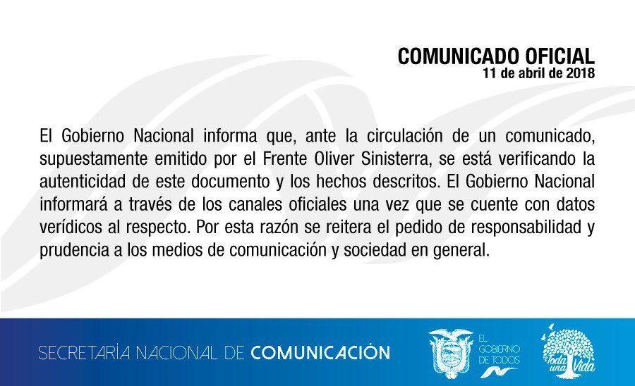 Colombia no confirma autenticidad de comunicado sobre periodistas ecuatorianos secuestrados